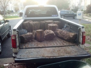 Unloading Wood From Truck